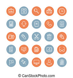Office equipment and objects flat icons