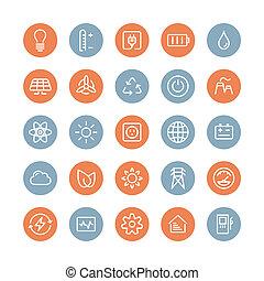 Lejlighed, Energi, Sæt, Magt, iconerne