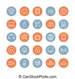 Multimedia and technology flat icons set - Flat line icons...