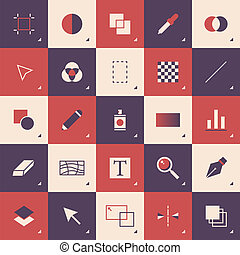Abstract graphic design toolbar pattern - Flat design style...