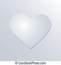 Valentines Day Paper Heart  on White Background