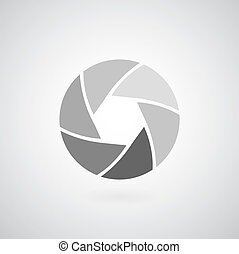 camera objective icon on gray background