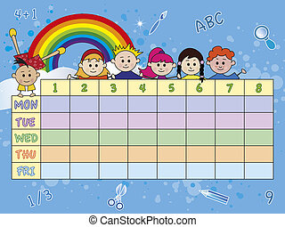 school timetable - illustration of school timetable with...