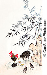 traditional Chinese painting ,bamboo and chicken
