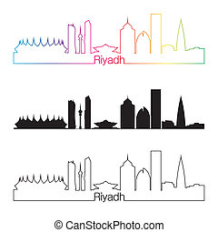 Riyadh skyline linear style with rainbow in editable vector...