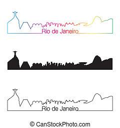 Rio de Janeiro skyline linear style with rainbow in editable...