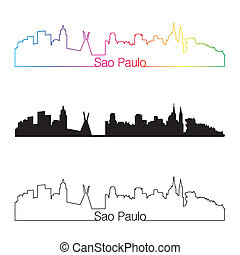 Sao Paulo skyline linear style with rainbow in editable...