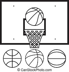 vector collection of basketballs and backboard - vector...