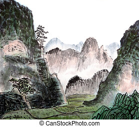 traditionnel, chinois, peinture, paysage