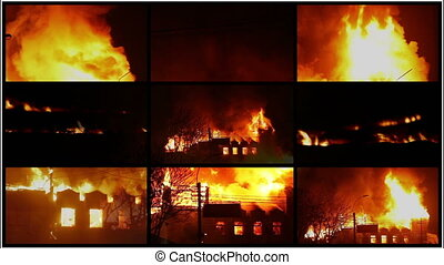 Burning buildings - Multi screen with burning buildings,...