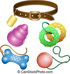 Dog toys set - Illustration with dog leash and toys set...