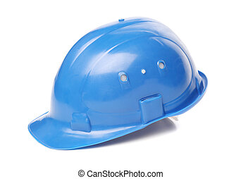 Blue hard hat close up Isolated on a white background