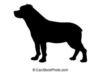 rottweiler dog - illustration, black silhouette of a...