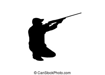 hunter with rifle - illustration, black silhouette of a...