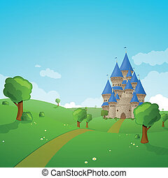 Vector Landscape with a Castle - Vector Illustration of a...