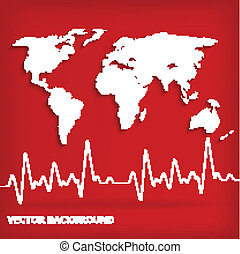 White world map and Heart Beats Cardiogram on Red background - vector illustration