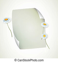 Vector Sheet of Paper and Flowers