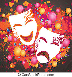 Vector Background with Carnival Masks - Vector Illustration...