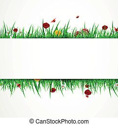 Vector Background with Grass and Flowers