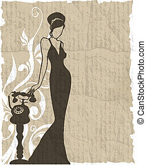 the vintage retro woman silhouette background - vector...
