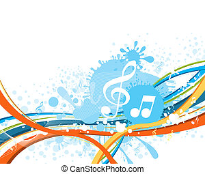 Music notes on a abstract colorful background