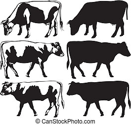 cow and bull silhouettes - cattle icon, farm animals,