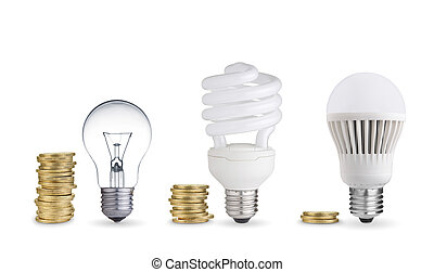 bulbs and coins - money spent in different light...