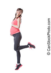 Image of happy pregnant woman engaged in aerobics, isolated...