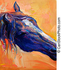 Blue horse - Original abstract oil painting of a beautiful...
