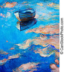Boat at sea - Original abstract oil painting of boat and sea...