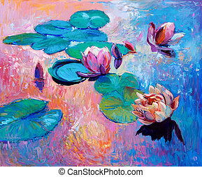 water lilies - Original abstract oil painting of beautiful...