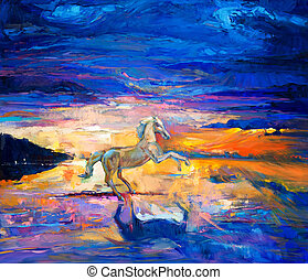 Horse - Original abstract oil painting of a beautiful blue...