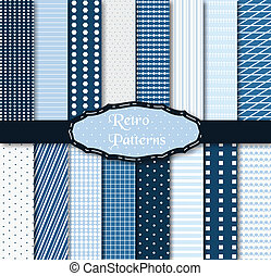 Set of 16 different patterns - Vector illustration of...