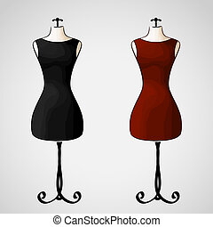 Elegant classic little dress - Hand drawn vector - elegant...
