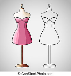 Hand drawn dress on dressform - Hand drawn evening dress on...