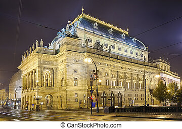 Prague, Czech Republic, The National Theater in the night
