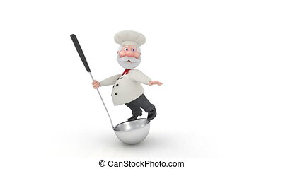 The 3D cook with a ladle. - In kitchen after work there...