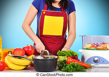housewife cutting vegetables