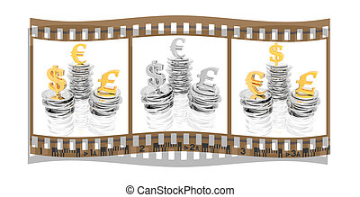 film with coins isolated on a white