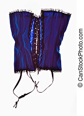 Blue Corset - Stylish blue bodice isolated on white...