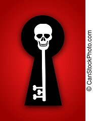 Skeleton Key - Illustration of a skull and bones key inside...
