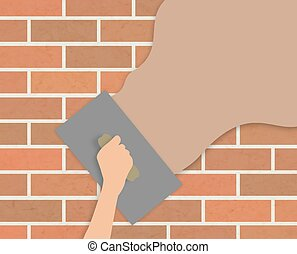 Plastering wall - Illustration of a hand holding a trowel...