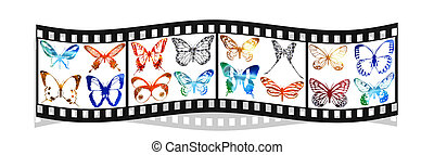 film with bright metal butterfly isolated on white...