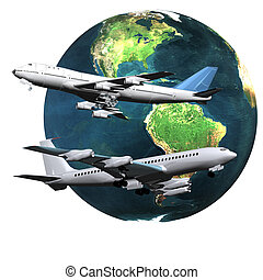 airliner with a globe