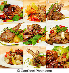 Collage with meat meals - Collage (set) from various kinds...