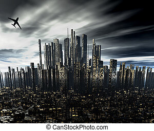 cityscape with airliner silhouette - futuristic cityscape...