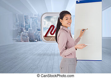 Composite image of businesswoman pa - Businesswoman painting...
