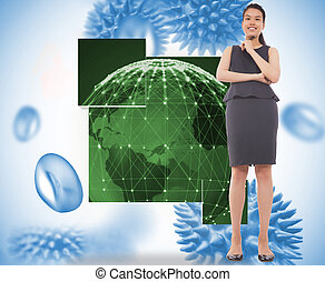 Composite image of thoughtful businesswoman - Thoughtful...
