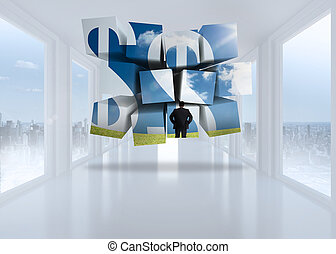 Businessman and dollar signs on abstract screen against bright white hall with windows