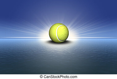 tennis with sunset background